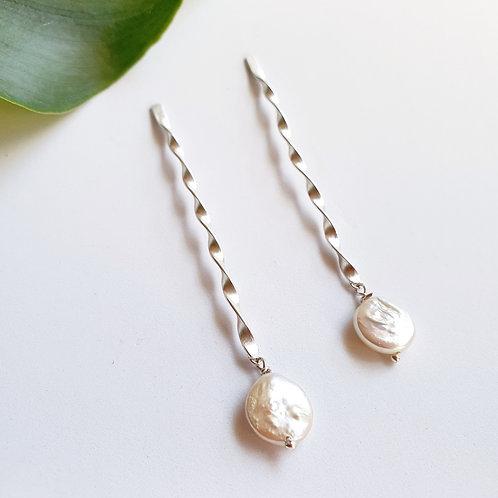 Freshwater Pearl Spiral Earrings