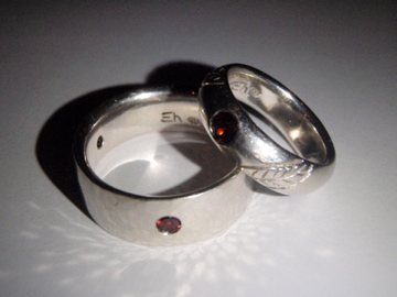 White Gold and Garnet Wedding Bands