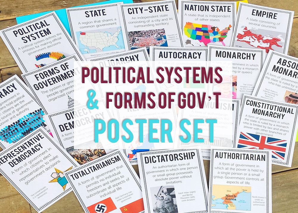 Printable posters that cover political systems and forms of government