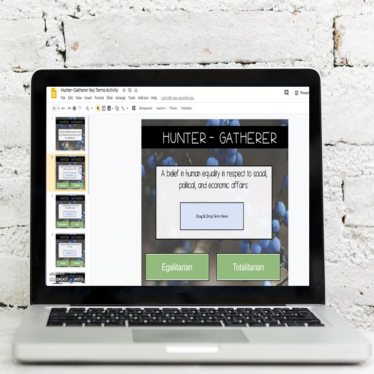 Hunters-Gatherers Digital Learning Activity