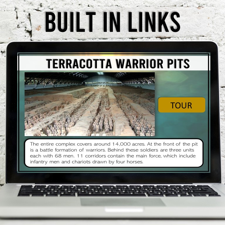 An interactive lesson to learn about the Terracotta Warriors. Great for an ancient China unit.
