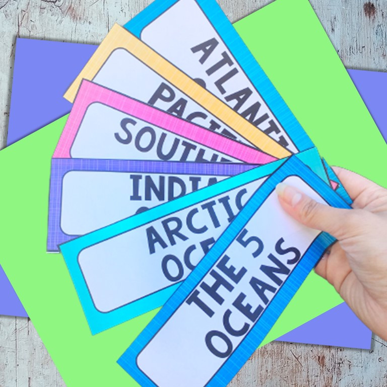Pocket Chart Cards for the Five Oceans