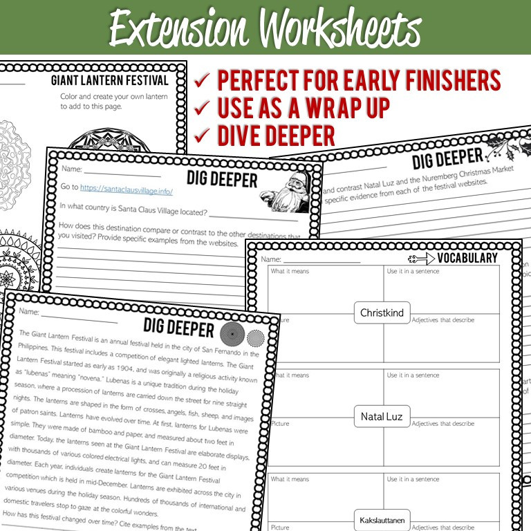 Winter Holidays Around the World Scavenger Hunt Printables and WebQuest Using Google Earth