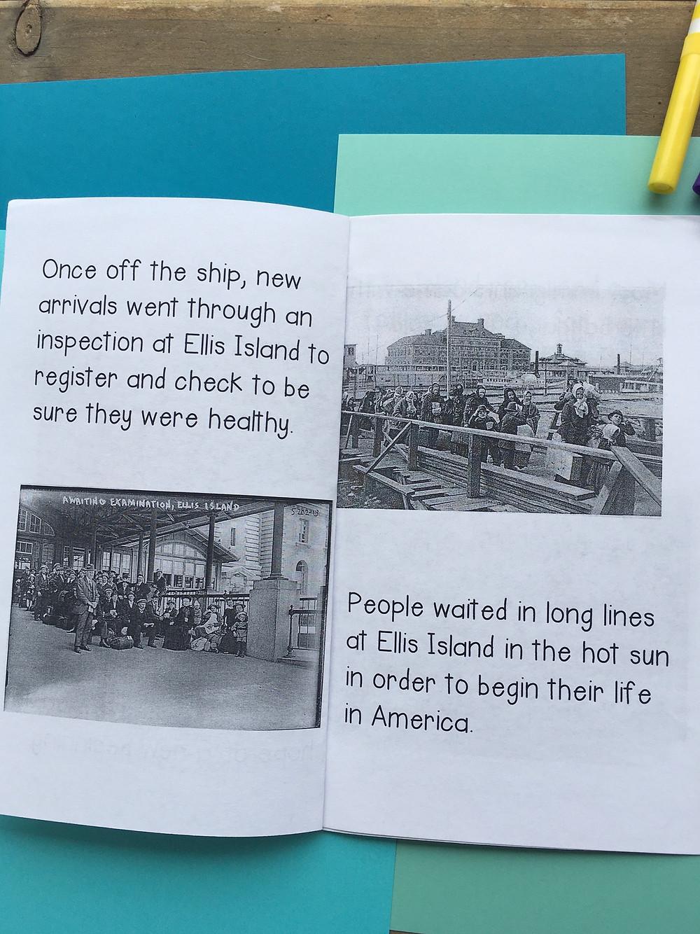 Ellis Island Printable Mini Book Reader with Historical Photos