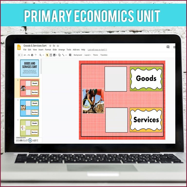 Activities for teaching goods and services in elementary economics.