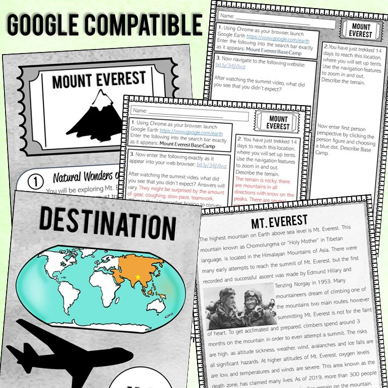 Virtual Field Trip that uses Google Earth for upper elementary or middle school