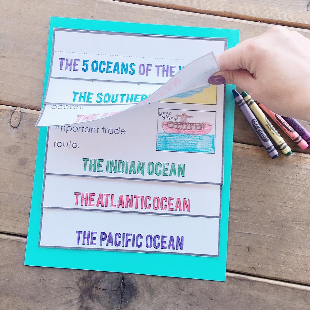 Five Oceans flip book activity with slide show