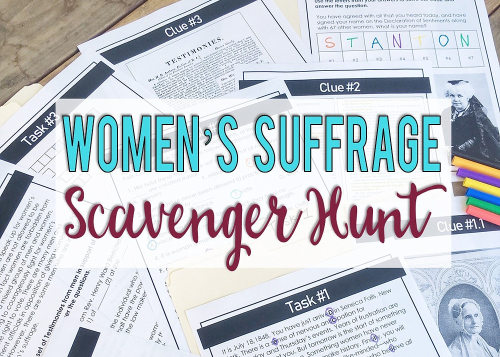 Women's Suffrage Movement Scavenger Hunt Activity