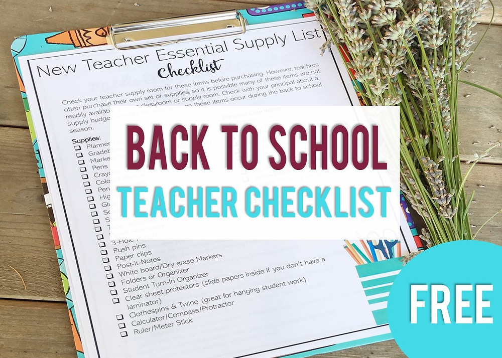 Back to School New Teacher Checklists