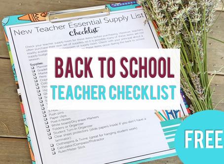 New Teacher Back to School Checklists