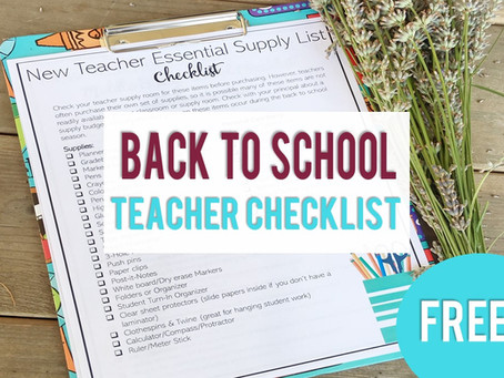 New Teacher Back to School Checklists