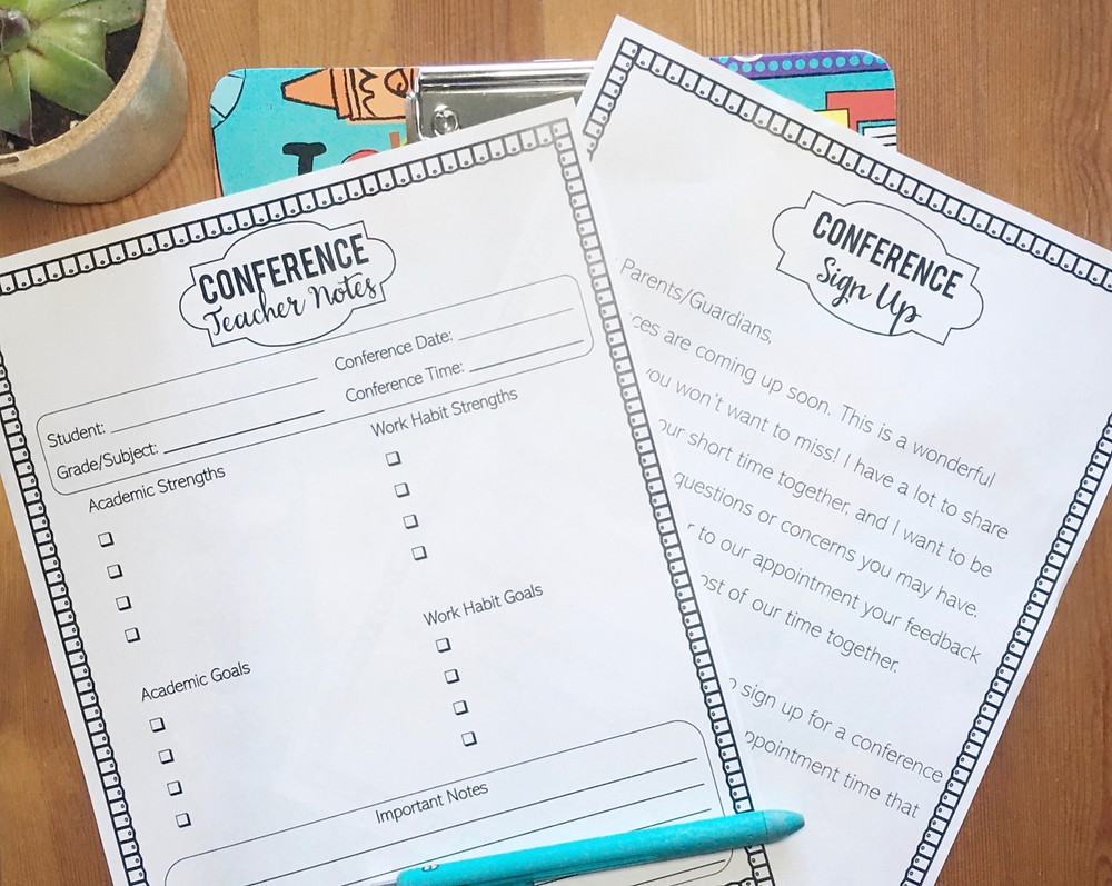 Parent teacher conference tips and forms for new teachers