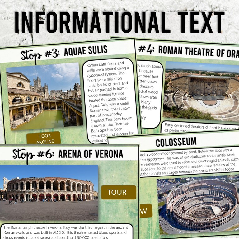Roman Baths, Theaters, and Amphitheaters Virtual Field Trip. A digital activity for middle school ancient history or world civilizations class.
