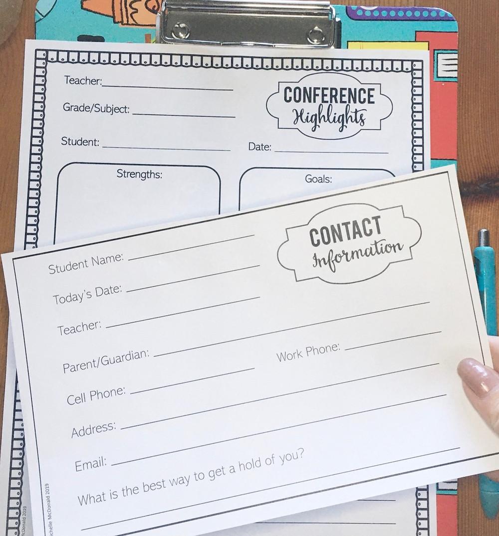 Parent teacher conference forms for new teachers