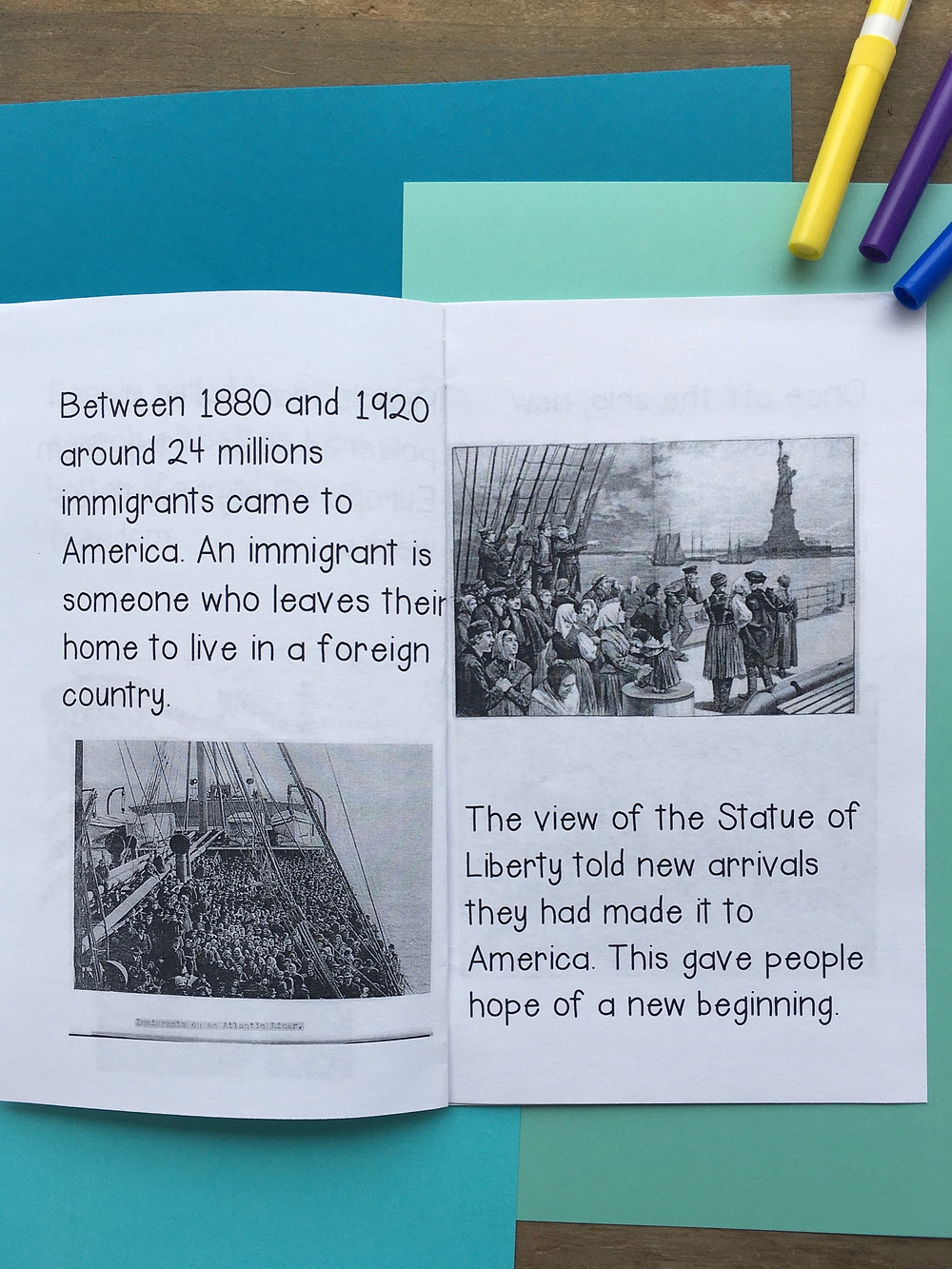 Ellis Island printable mini book reader with historical photos