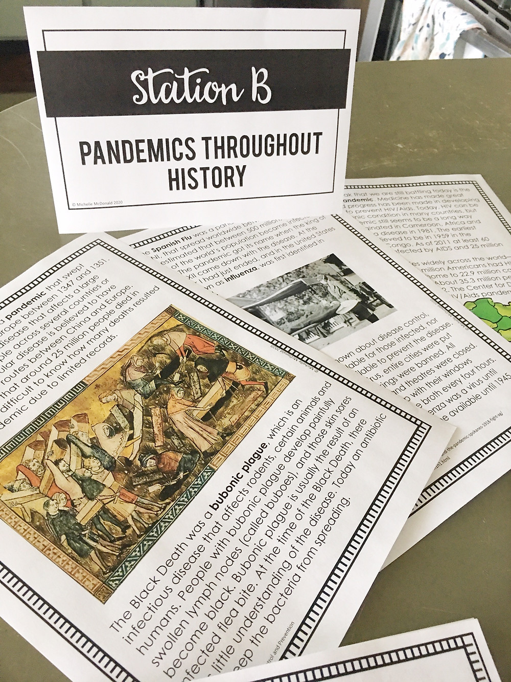 Pandemics through history stations