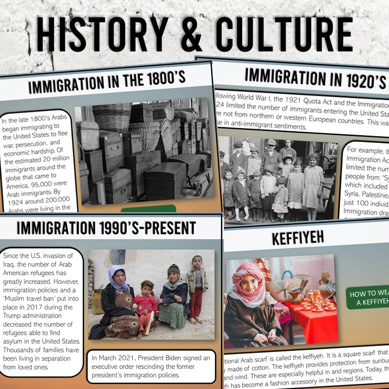 Arab American Heritage Month History and Culture Activity