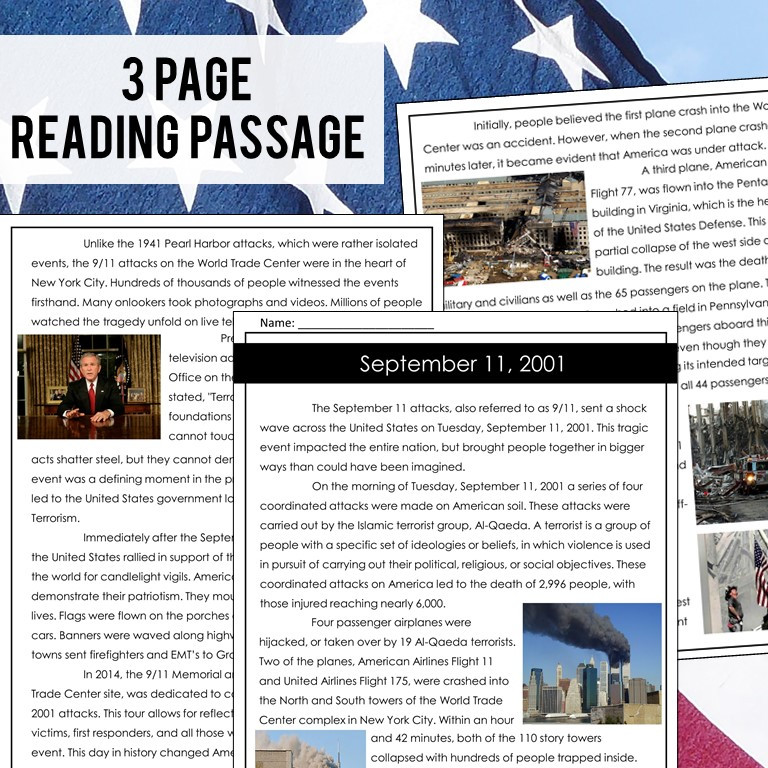 September 11th Attacks Reading Passage and Comprehension Questions