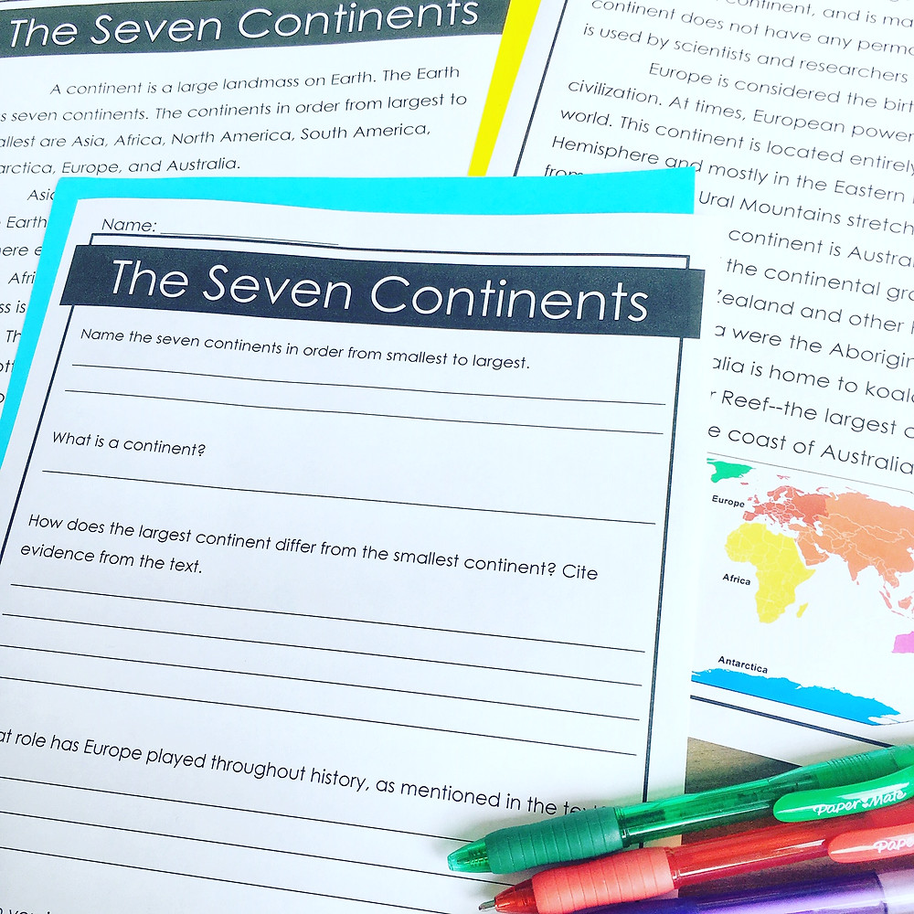 Seven Continents Reading Passages and Comprehension Questions