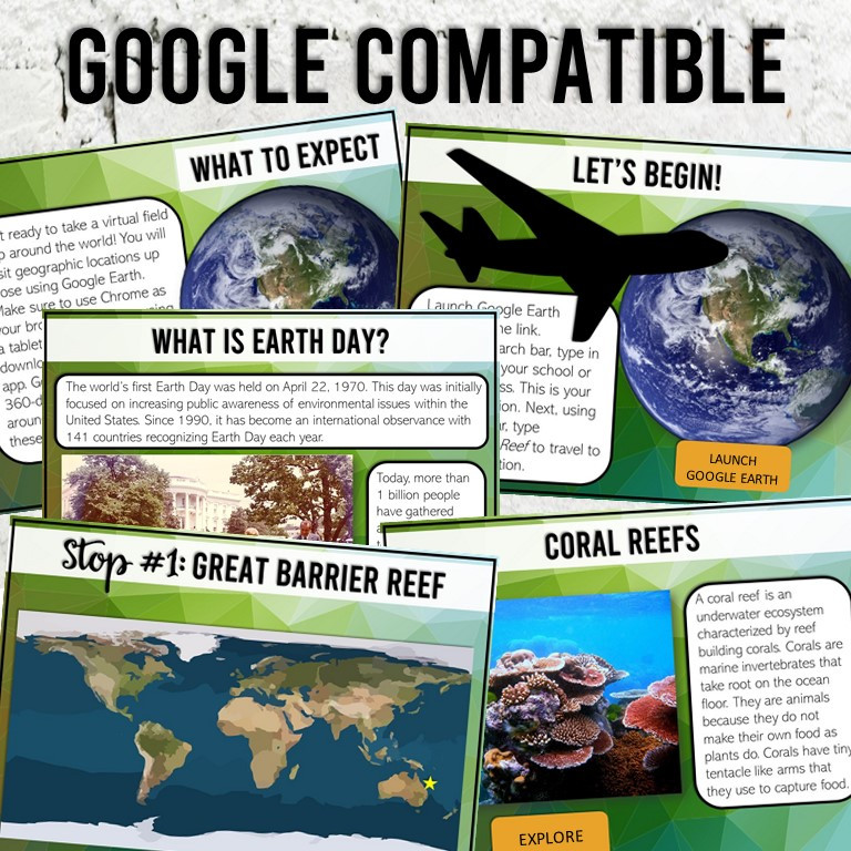 Earth Day Virtual Field Trip for Google Slides with Clickable Links