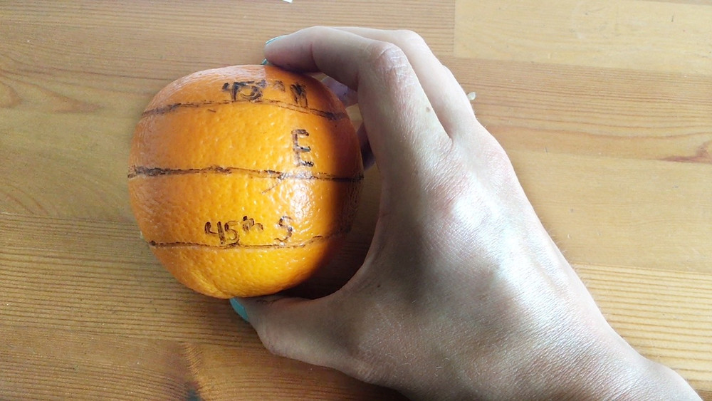 learn about 45th parallel using oranges as demo