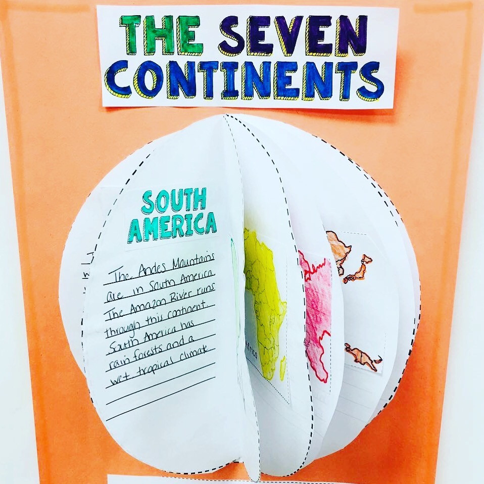 The Seven Continents Globe Craft Activity. Great for research or recording information about the seven continents
