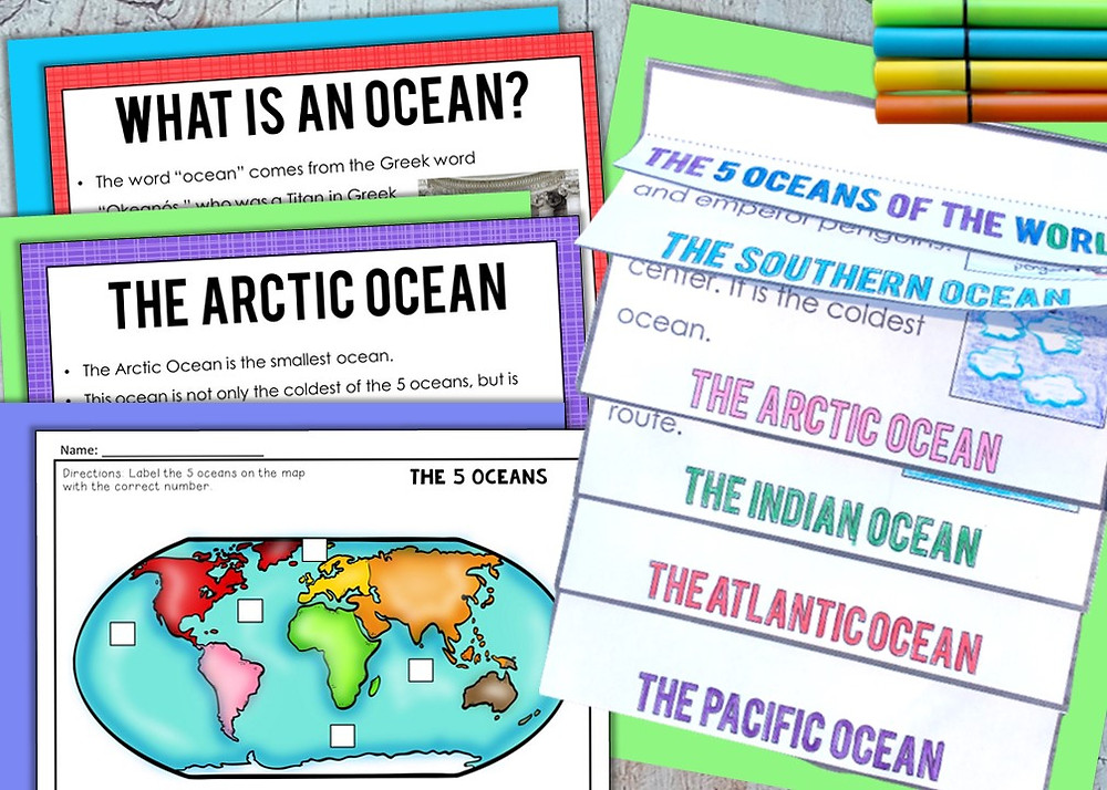 The 5 Oceans of the World Activities and Slide Show