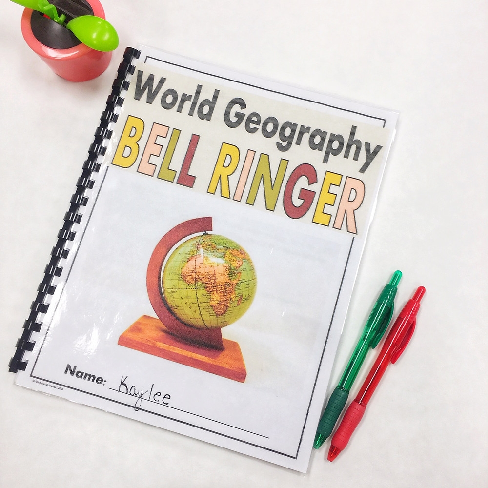 World Geography Bell Ringer for Middle School and High School