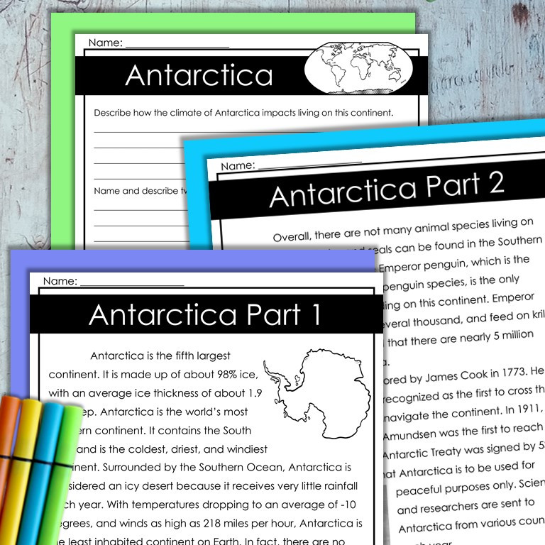 Continents Leveled Reading Passages