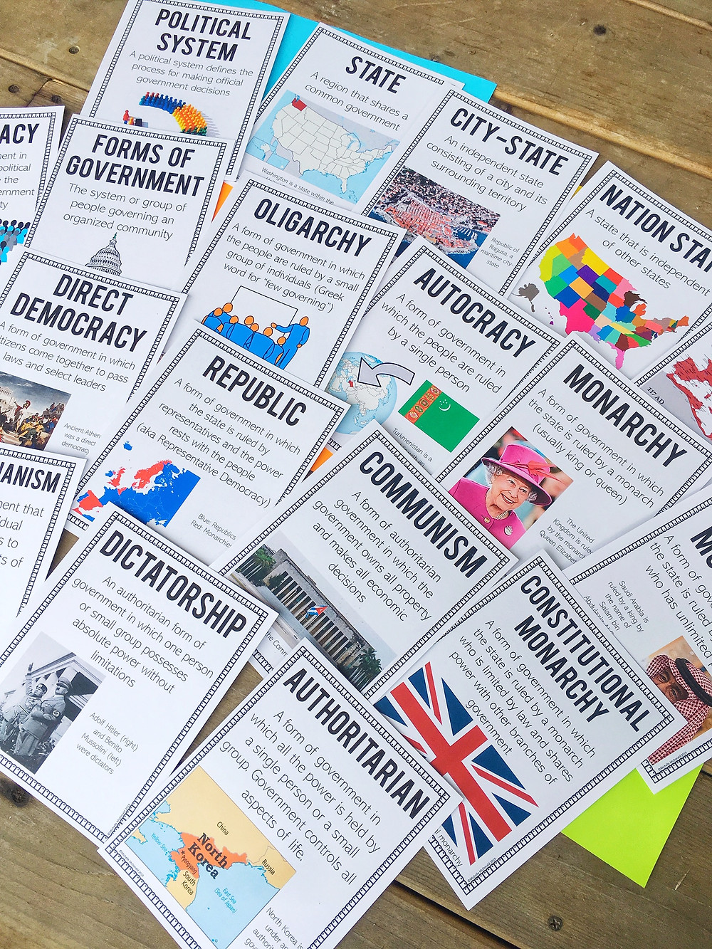 Political Systems and Forms of Government Printable Posters for Social Studies class