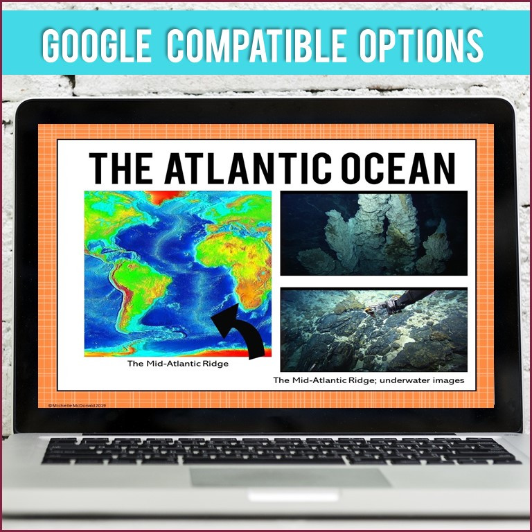 Continents and Oceans Slide Show for teaching geography