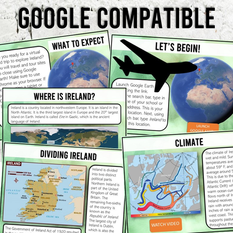 Ireland History and Geography Activity for Upper Elementary and Middle School