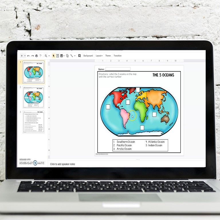 Map skills practice for the seven continents and fie oceans. Label the oceans and label the continents activity in print and digital format.