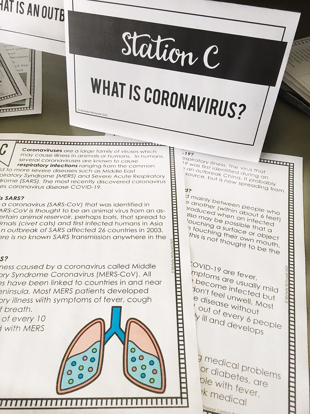 Coronavirus stations for middle school