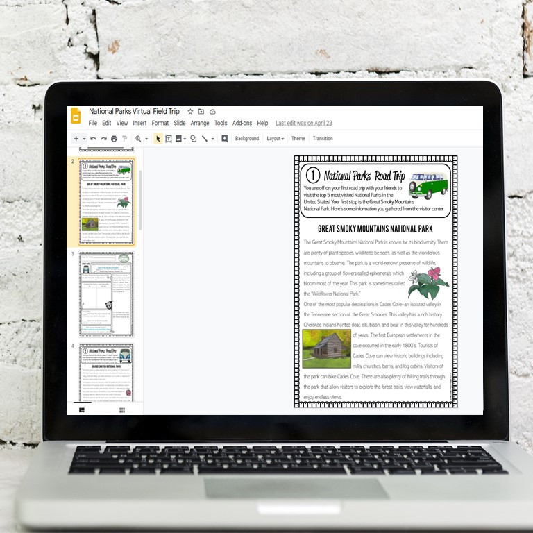 Take your students to the National Parks with this Google Slides digital activity that is perfect for 5th grade, 6th grade, or middle school