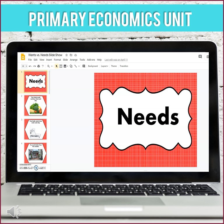Wants and Needs activities for elementary