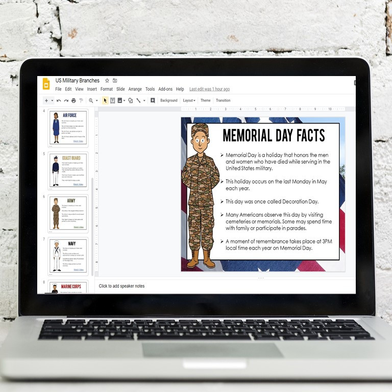 Memorial Day Google Compatible Lesson About Military Branches