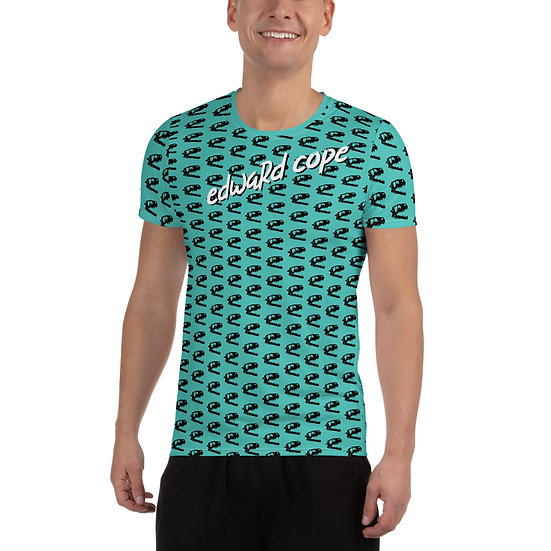 Dino Skull (Teal) All-Over Print Men's Athletic T-shirt