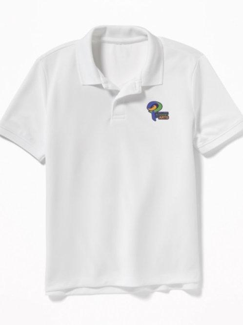 Polo w/ logo, White, Youth Medium