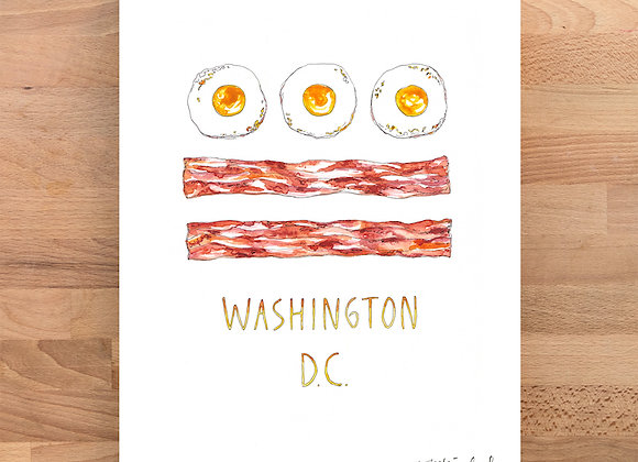 DC Breakfast Eggs and Bacon Flag Watercolor Print / Marcella Kriebel