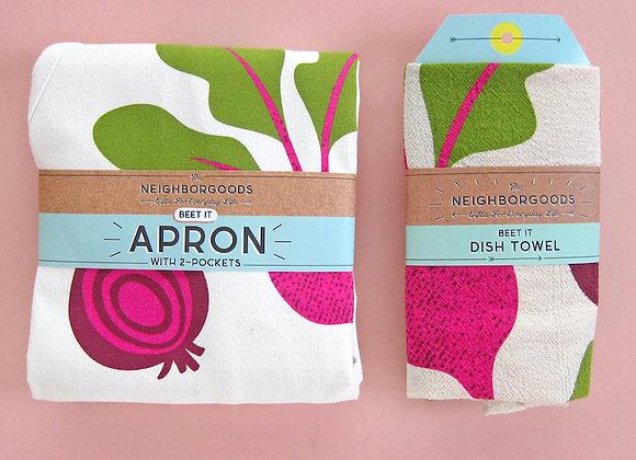 Beet it Apron + Dish towel Set / The Neighborgoods