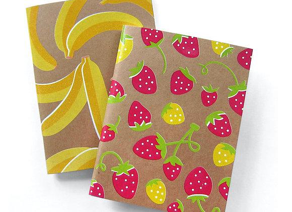 Strawberry + Banana Notebook set of 2 / The Neighborgoods