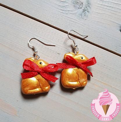 BO lapins chocolat couleur or nœud rouge