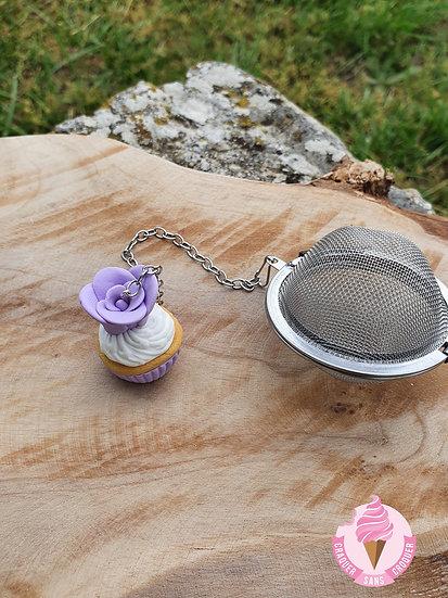 Boule à thé cupcake mauve