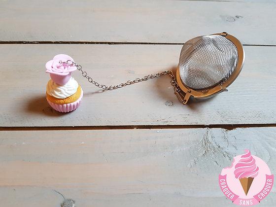 Boule à thé cupcake rose