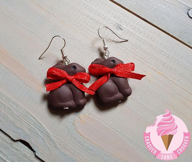 BO lapins chocolat nœud rouge