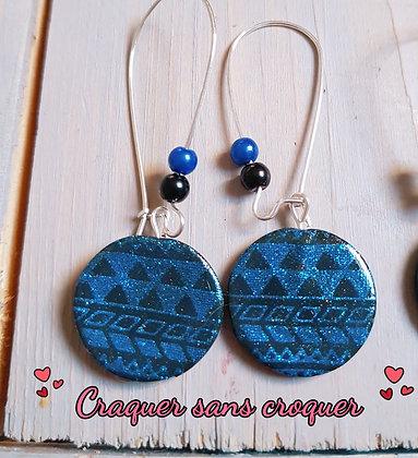BO motif Aztèque bleu roi