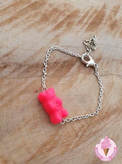 Bracelet bonbon ourson rose fluo