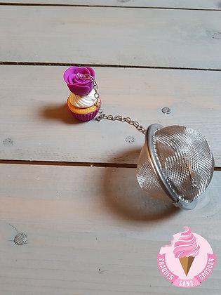 Boule à thé cupcake violette