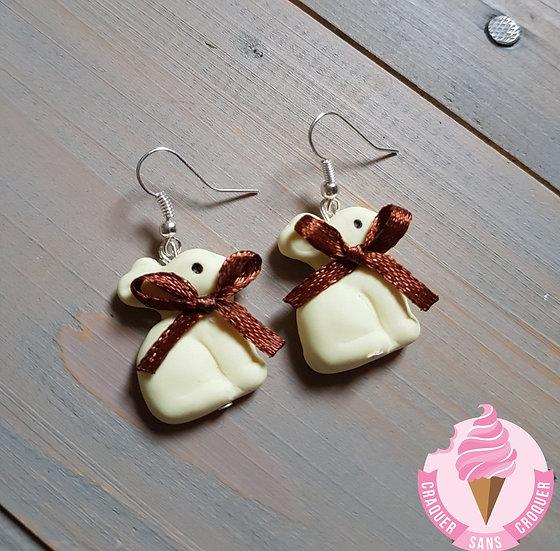 BO lapins chocolat blanc nœud marron